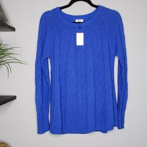 NWT Crown & Ivy Blue Jewel Knit Sweater SMALL